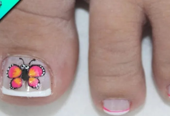 Diseño Para Uñas Cortas Mariposa Para Pies Butterfly Nail Art