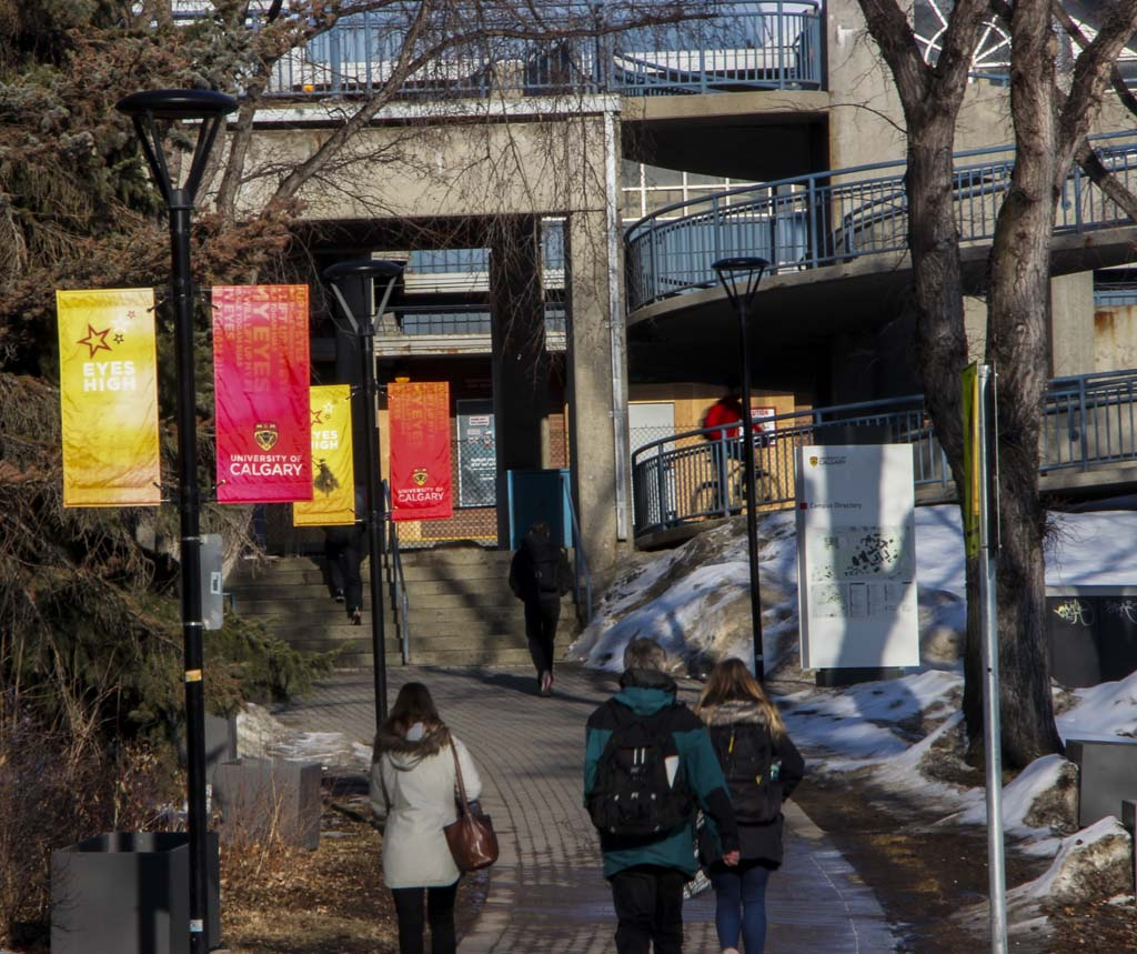 Students leaving the University of Calgary, March 19, 2018