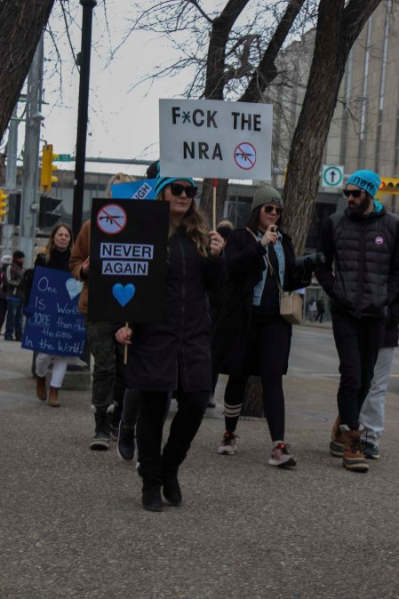 A pointed message against the National Rifle Association at a March For Our Lives rally in downtown Calgary, March 24, 2018. (Alex Hamilton/SAIT.)