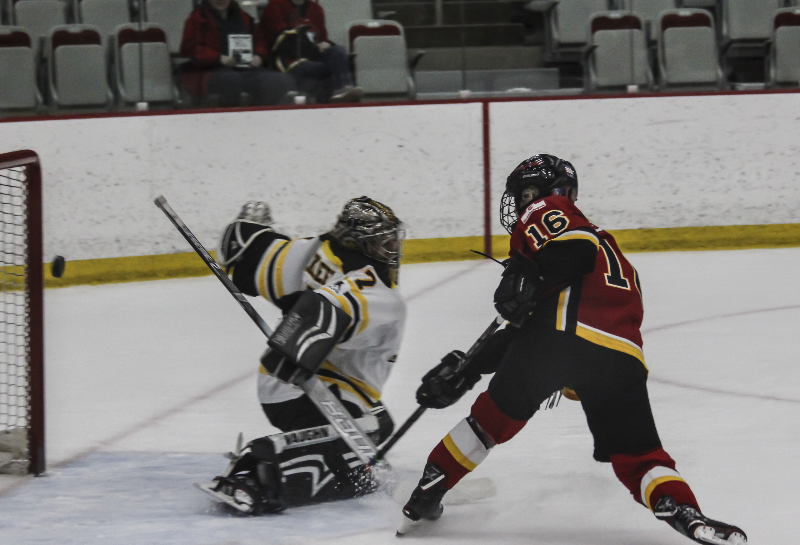 Calgary Inferno forward Rebecca Leslie scores against the Worcester Blades during a game in Calgary on Sunday, Feb. 10, 2019. Leslie scored twice in the game, which the Inferno won 10-0. (Photo by Alex Hamilton/The Press)