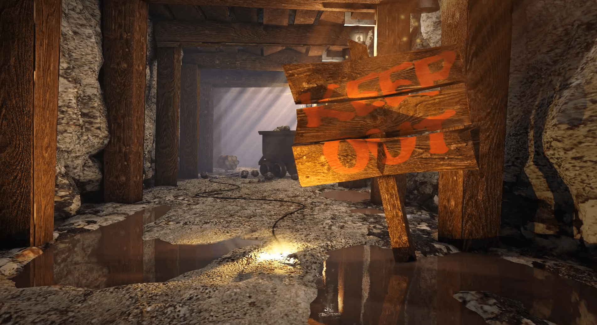 A 3D cartoon mine shaft environment with fuse that explodes a bomb