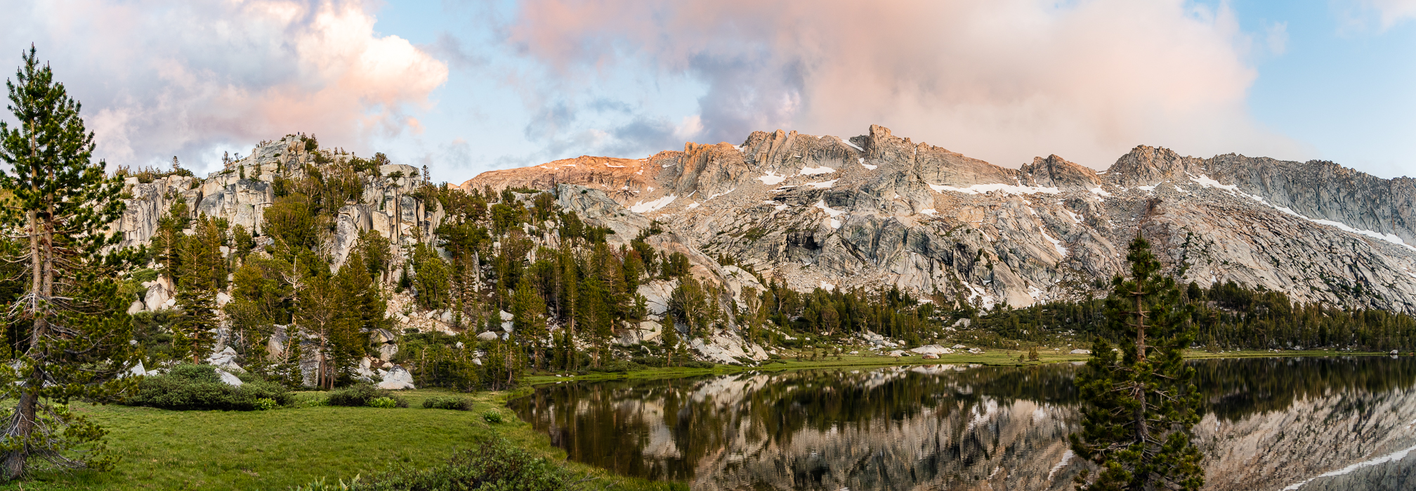 Panoramic view of granite ridgeline at 10,000 feet in Yosemite National Park