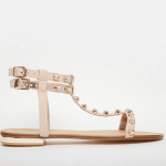 Dune blush embellished flat sandals