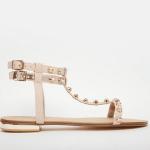 Dune blush embellished flat sandals
