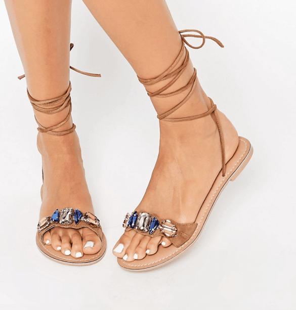 Leather embellished jewel sandals