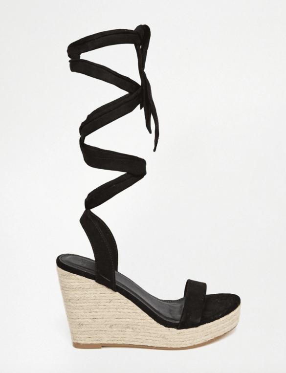 ASOS Black tie wedge sandals