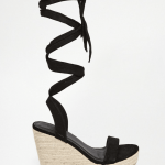 ASOS Black tie wedge sandals