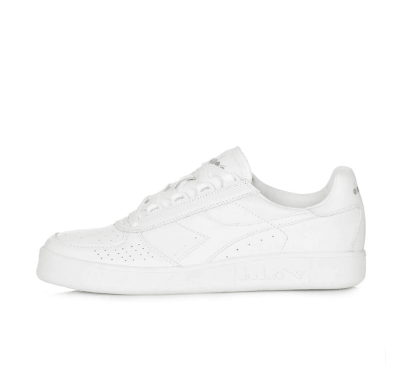 Diadora white leather lace up trainers