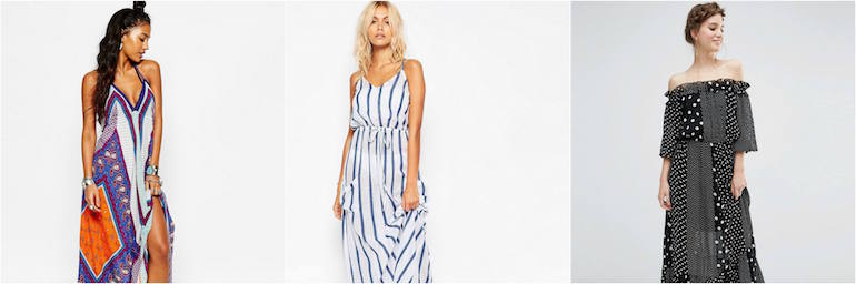 Maxi dress outfit grid for beach party