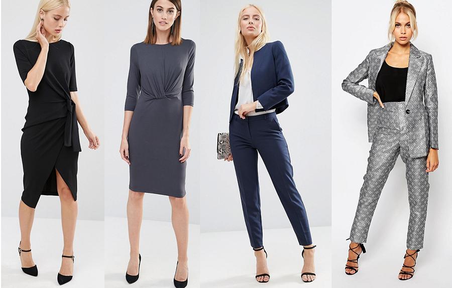 outfit grid business cocktail party attire dress suit blazer