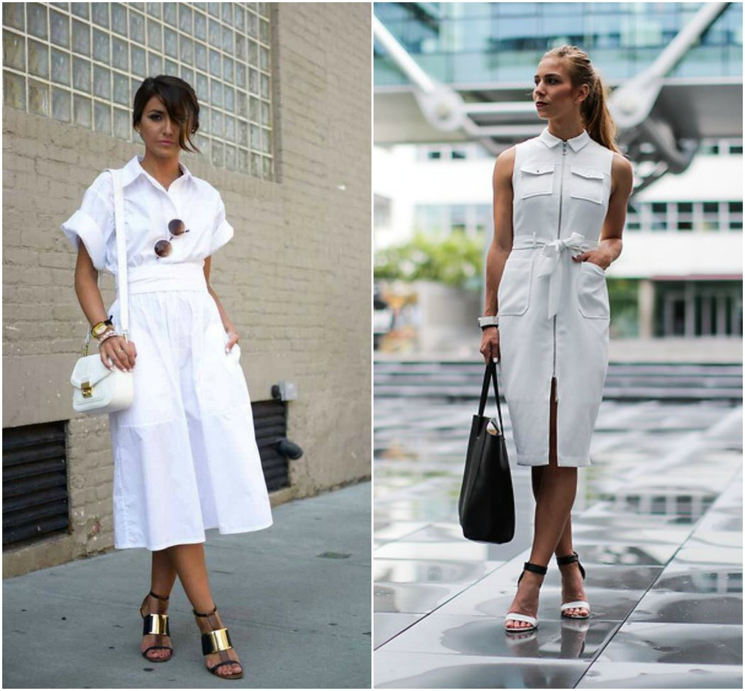 white shirt dress strappy sandals work wear summer