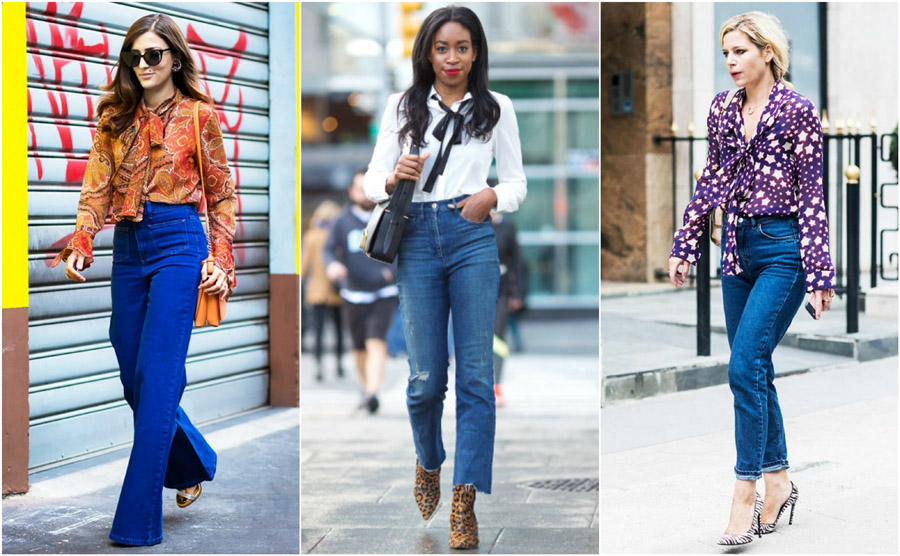 Flared Pussybow Seventies Blouse Shirt High Waist Jeans Style Fashion Women Guide Street Celebrity Outfit Inspiration
