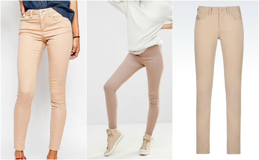 Nude Beige Coloured High Waist Jeans Shop Grid Alexie 2