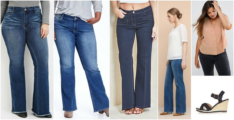 Outfit Grid Flared Jeans Curvy Women