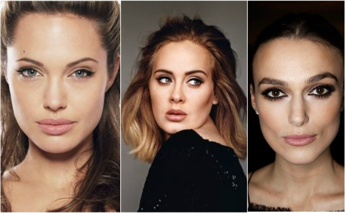 Celebrity make up inspiraton grid: Angelina Jolie, Adele & Keira Knightley