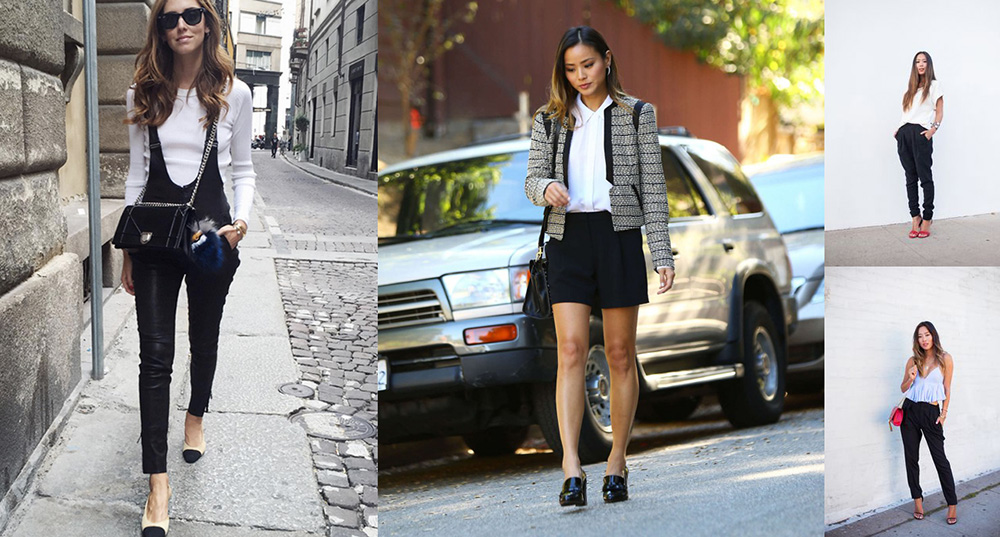 outfit grid celebrity influencer black pants white shirts shorts chiara song of style jamie chung