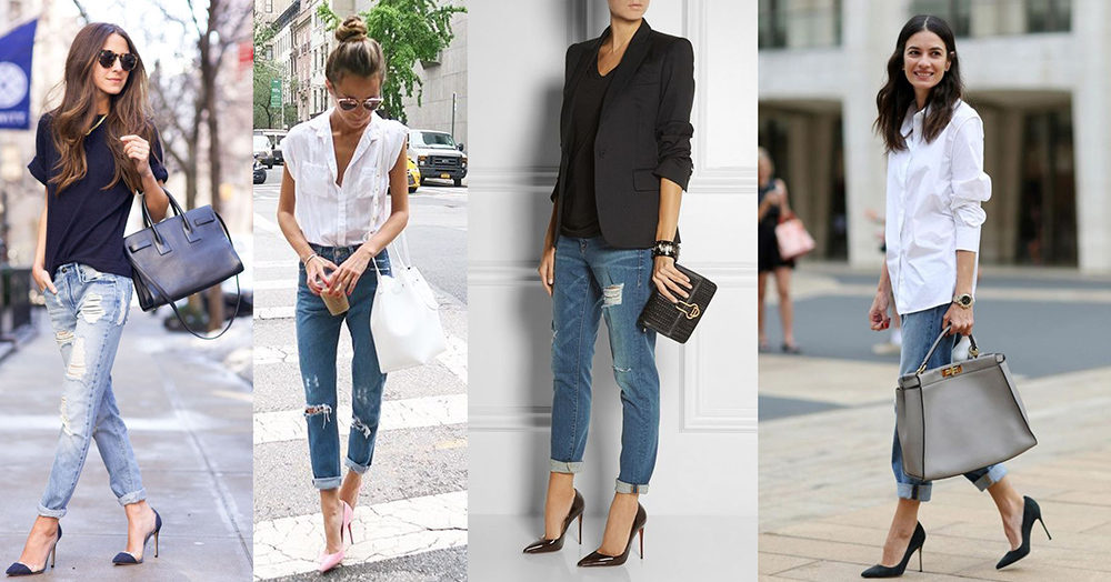 outfit grid womens boyfriend jeans dressed up