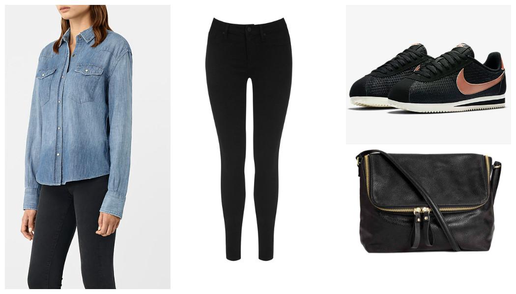 denim shirt jeans black nike trainers black bag