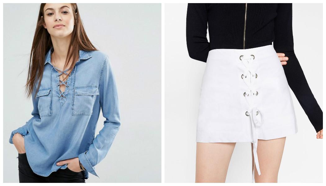 denim shirt white skirt