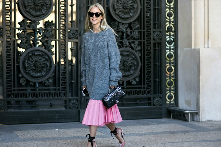 Street style imagery pink dress and grey sweater