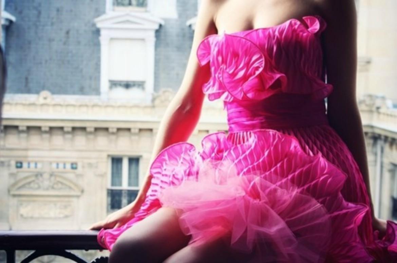 Girl in hot pink ruffle dress