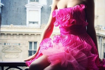 Girl in hot pink ruffle dress