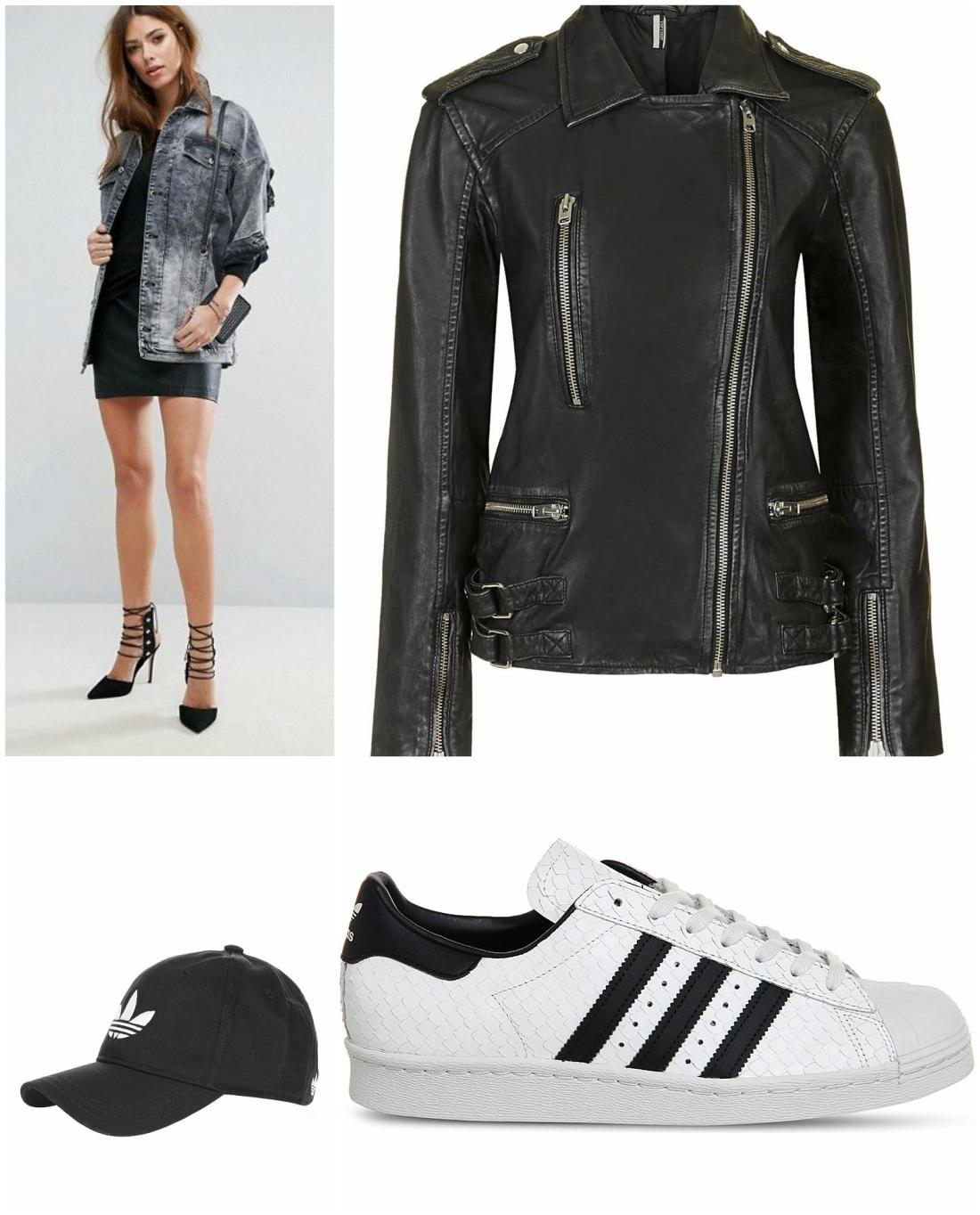 denim cap leather trainer dress down