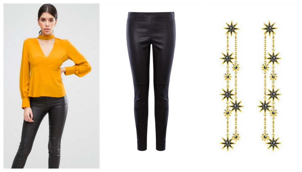 yellow-top-leather-trousers-earrings-outfit-grid New Year's Eve