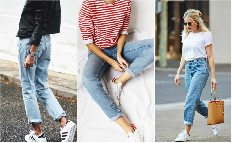 how to style mom jeans for the weekend with trainers and breton top