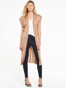 Very Mid Length Belted Sleeveless Cardigan