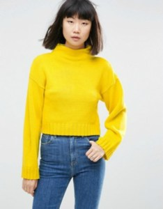 Chunky yellow cropped jumper with high neck