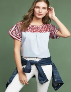 Tillie Embroidered Blouse in Blue and Red