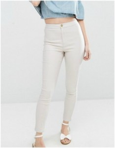 Asos Missguided Petite Vice High Waited Coated Jeans in Champagne