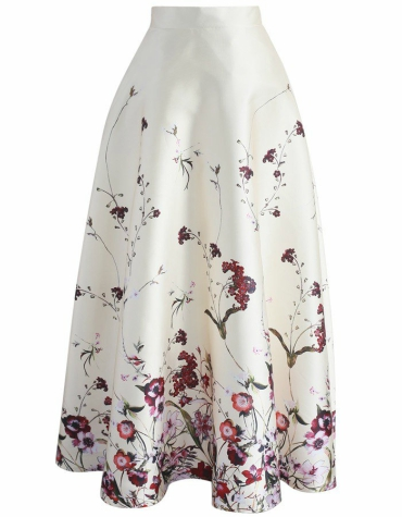 Floral printed maxi skirt in cream
