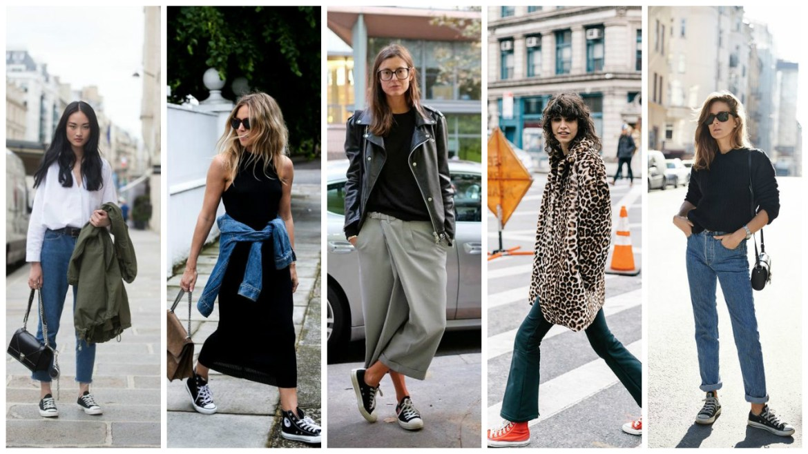 Five women demonstrate how to wear Converse during the day