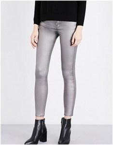 Selfridges Karen Millen Metallic-coated Skinny Mid-rise Jeans