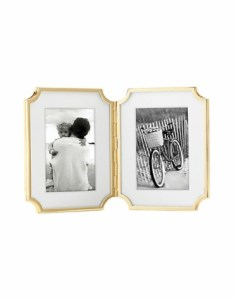 4x6 hinged double frame with gold edging