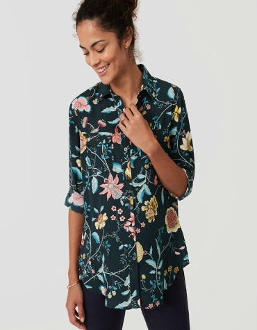 Maternity black long sleeve shirt with floral print