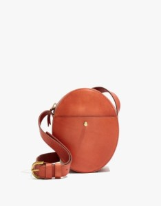 Circle cross body bag in burnished orange