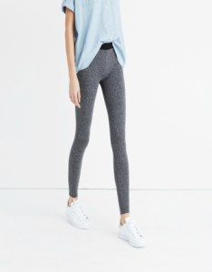 Knit leggings in grey with black waistband
