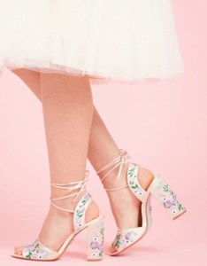 Pink embroidered heels with lace up detail
