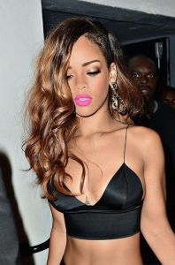 Rihanna bright pink lipstick