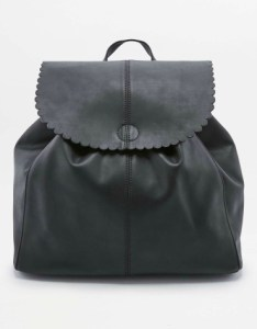 Black scallop-edge backpack