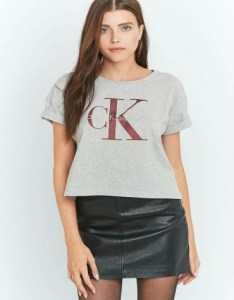 Calvin Klein Cropped Grey Logo T-shirt