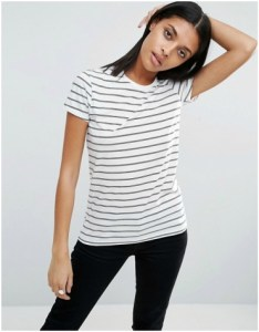 ASOS blue and white stripe crew neck t-shirt
