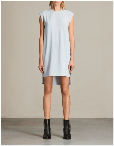 All Saints short blue sleeveless dress with drop hem line