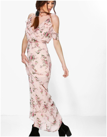 Boohoo pink floral patterned maxi dress