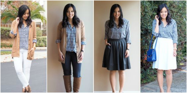 Four ways to wear a black and white checked shirt