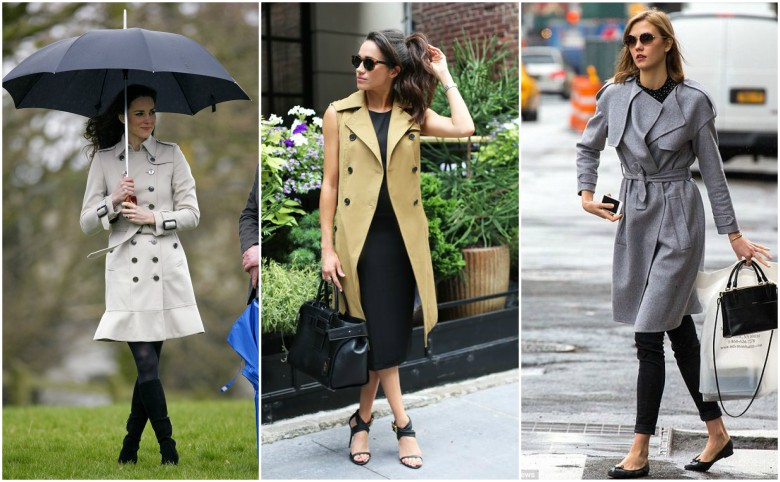 Kate Middleton, Meghan Markle and Karlie Kloss wearing trench coats during the day