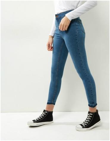 New Look blue fray hem skinny jeans